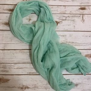 Frayed edge mint scarf